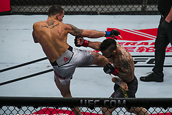 October 28, 2017 - Sao Paulo, Sao Paulo, Brazil - Oct, 2017 - Sao Paulo, Sao Paulo, Brazil - Fight between JOHN LINEKER (Maos de Pedra) and MARLON VERA (Chito) during UFC Fight Night, at the Ibirapuera Gymnasium in Sao Paulo, this Saturday (28).  LINEKER (in black) won. (Credit Image: © Marcelo Chello via ZUMA Wire)