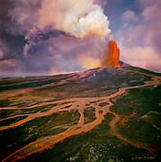 Eruption, Puu Oo vent, KIlauea Volcano,HVNP, Island of Hawaii