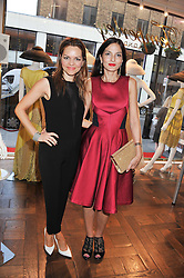 Left to right, MARIA HATZISTEFANIS and YASMIN MILLS at the Frocks and Rocks party hosted by Alice Temperley and Jade Jagger at Temperley, Bruton Street, London on 25th April 2013.