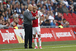 (L-R) coach Marcel Keizer of Ajax, Hakim Ziyech of Ajax during the Dutch Eredivisie match between Ajax Amsterdam and Vitesse Arnhem at the Amsterdam Arena on September 24, 2017 in Amsterdam, The Netherlands