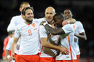 Arjen Robben of Netherlands © celebrates with his teammates after he scores his teams 2nd goal. Vauxhall International football friendly, Wales v The Netherlands at the Cardiff city stadium in Cardiff, South Wales on Friday 13th November 2015. pic by Carl Robertson, Andrew Orchard sports photography.