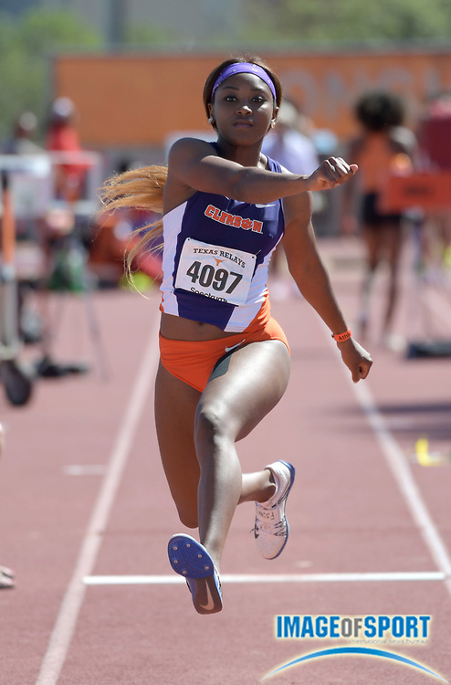 Mar 31, 2017; Austin, TX, USA; Iana Amsterdam of Clemson wins the women's triple jump at 44-10 3/4 (13.68m) during the 90th Clyde Littlefield Texas Relays at Mike A. Myers Stadium. Mandatory Credit: Kirby Lee-USA TODAY Sports