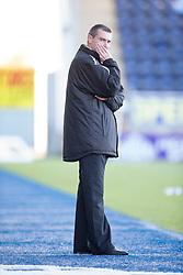 Alloa Athletic's manager Barry Smith.<br /> Falkirk 2 v 1 Alloa Athletic, Scottish Championship game played 4/10/2014 at The Falkirk Stadium.