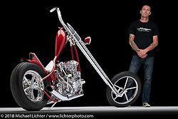 """""""Hades"""", a completely custom chopper built from a 1946 knucklehead by Jay """"Hawke"""" Lawshe of Columbia Falls, MT. Photographed by Michael Lichter in Sturgis, SD on 8/14/2018. ©2018 Michael Lichter."""