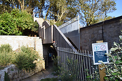 One way safety system in place to get to the beach at Trebah Gardens, Cornwall, UK Oct 2020
