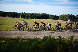 Gracie Elvin (AUS) and Trixi Worrack (GER) near the front across the first gravel sector at Postnord Vårgårda West Sweden Road Race 2018, a 141 km road race in Vårgårda, Sweden on August 13, 2018. Photo by Sean Robinson/velofocus.com
