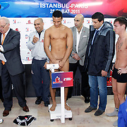 Istanbulls Redouane KAYA (C) and Paris United Artur SCHMIDT (R) boxers seen during their Presentation and the weighing ceremony matchday 10 of the World Series of Boxing at Ahmet Comert Arena in Istanbul, Turkey, Thursday, February 24, 2011. Photo by TURKPIX