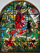 The Tribe of Gad. The Twelve Tribes of Israel depicted in stained glass By Marc Chagall (1887 - 1985). The Twelve Tribes are Reuben, Simeon, Levi, Judah, Issachar, Zebulun, Dan, Gad, Naphtali, Asher, Joseph, and Benjamin.