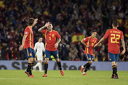 October 15, 2018 - Seville, Spain - PACO ALCACER (C ) celebrates after scoring 1-3 during the UEFA Nations League Group A4 soccer match between Spain and England at the Benito Villamarin Stadium (Credit Image: © Daniel Gonzalez Acuna/ZUMA Wire)