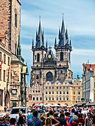 Praga, stolica Czech. 2013-07-23. Tyński Kościół pod wezwaniem Matki Bożej na Starym Mieście w Pradze.