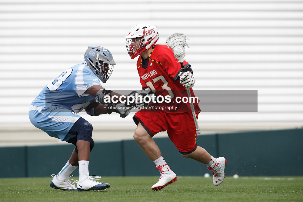 CHAPEL HILL, NC - MARCH 22: Connor Cannizzaro #23 of the Maryland Terrapins during a game against the North Carolina Tar Heels on March 22, 2014 at Kenan Stadium in Chapel Hill, North Carolina. North Carolina won 11-8. (Photo by Peyton Williams/Inside Lacrosse)