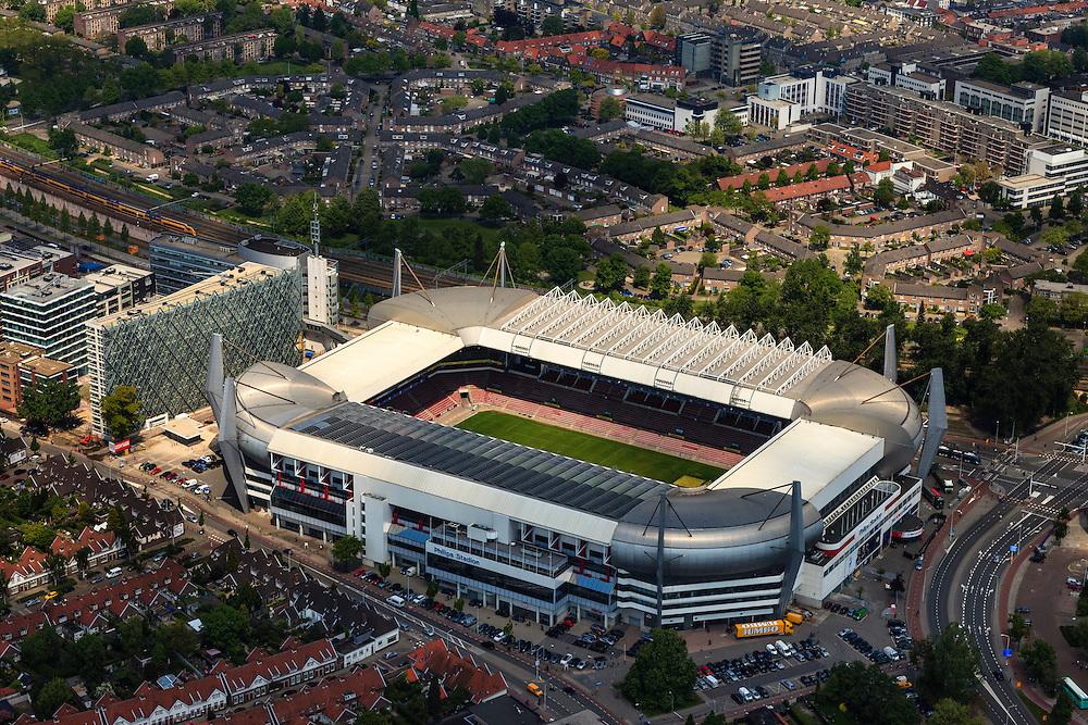 Nederland, Noord-Brabant, Eindhoven, 27-05-2013; <br /> Philips Stadion (PSV Stadion), in de wijk Oud-Strijp; naast het voetbalstadion het oude Philipsdorp. Philips Stadion (PSV Stadium) in the Old-Strijp district, next to the football stadium to the old 'Philips Village'<br /> <br /> luchtfoto (toeslag op standard tarieven);<br /> aerial photo (additional fee required);<br /> copyright foto/photo Siebe Swart