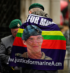 © Licensed to London News Pictures. 07/02/2017. London, UK. Former Royal Marines and supporters of Sergeant Alexander Blackman gather outside the Royal Courts of Justice in London where Sgt Blackman is due to start an appeal against his life sentence for the murder of a wounded Taliban fighter in Afghanistan in 2011.  Photo credit: Ben Cawthra/LNP