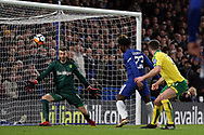Michy Batshuayi of Chelsea (c) scores his team's first goal.  The Emirates FA Cup, 3rd round replay match, Chelsea v Norwich City at Stamford Bridge in London on Wednesday 17th January 2018.<br /> pic by Steffan Bowen, Andrew Orchard sports photography.