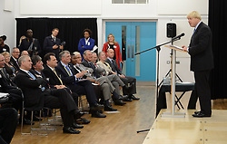 The Duke of York & Boris Johnson College Opening.<br /> Mayor of London Boris Johnson speaking during the opening of the Royal Greenwich University Technical College, joined by the The Duke of York and Cllr Chris Roberts, Leader of the Royal Borough of Greenwich. The new regional academy will develop the skills of 14-19 year olds in engineering and construction, alongside their core academic education, London, United Kingdom. Thursday, 24th October 2013. Picture by Andrew Parsons / i-Images