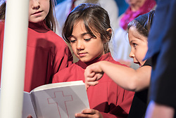 29 October 2016, Lund, Sweden: Dress rehearsal in Lund Cathedral, before Pope Francis' visit and the joint Catholic-Lutheran reformation commemoration on 31 October 2016. Children form a central part in the service, as they are involved in singing hymns and ecumenical songs, as well as lighting candles symbolising the five joint commitments undertaken by the Lutheran and Catholic churches on the occasion of the joint reformation commemoration.