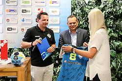 Rado Mulec, Iztok Verdnik and Deja Doler at Press Conference of RK Krim Mercator at start of the season 2018/19, on August 16, 2018 in Mercator Siska, Ljubljana, Slovenia. Photo by Matic Klansek Velej / Sportida
