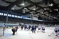Slovenian hockey players at practice of Slovenian national team at Hockey IIHF WC 2008 in Halifax,  on May 01, 2008 in Forum Centre, Halifax, Canada.  (Photo by Vid Ponikvar / Sportal Images)