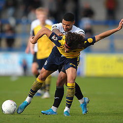 TELFORD COPYRIGHT MIKE SHERIDAN Ellis Deeney of Telford battles for the ball with Aaram Soleman during the Vanarama National League Conference North fixture between AFC Telford United and Guiseley on Saturday, October 19, 2019.<br /> <br /> Picture credit: Mike Sheridan/Ultrapress<br /> <br /> MS201920-026
