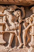 India, Khajuraho, erotic sculptures in a temple