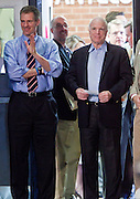 05 MARCH 2010 -- PHOENIX, AZ: US Senators Scott Brown (LEFT) and John McCain wait to enter McCain election rally at Grand Canyon University in Phoenix Friday. McCain is facing a tough primary battle from former Republican Congressman JD Hayworth. McCain has Scott Brown (R-MA) and Sarah Palin campaigning for him. Both men are courting the Tea Party activists but so far the Tea Party has refused to endorse either candidate.    PHOTO BY JACK KURTZ