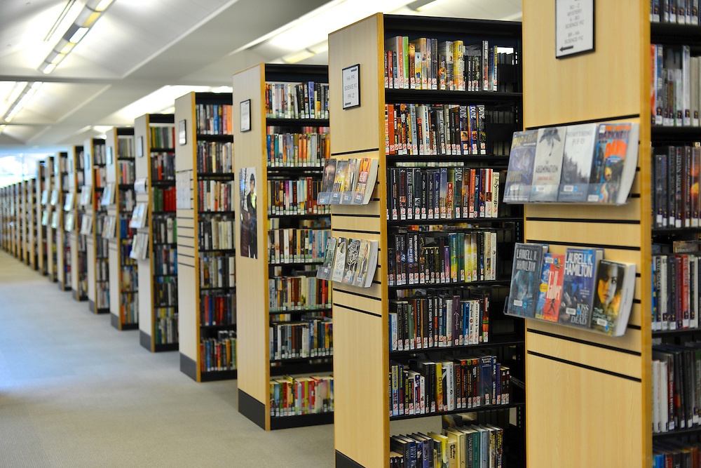Row of bookshelves at the Akron-Summit County Public Library.