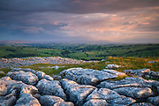 Stormy evening skies hover above Pendle Hill, as seen from Malham Lings' limestone pavement. Yorkshire Dales, England, UK