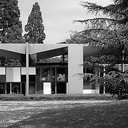 Zurich, Switzerland, 2007: View of the Maison d' Home from the park-(west facade)-1963-, by Le Corbusier arch. Photograph by Alejandro Sala   Visit SHOP Images to purchase a digital file,  explore other Alejandro Sala images.    AS • Atelier• Architecture + Photography