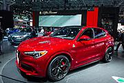 New York, NY - 12 April 2017. The Alfa Romeo Stelvio Quadrifoglio SUV, with 505hp 2.9L engine and a top speed of 177mph.