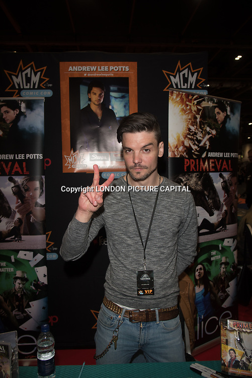 London, UK. 25nd May, 2018. Class star Andrew Lee Potts signing at MCM Comic Con event at London Excel.