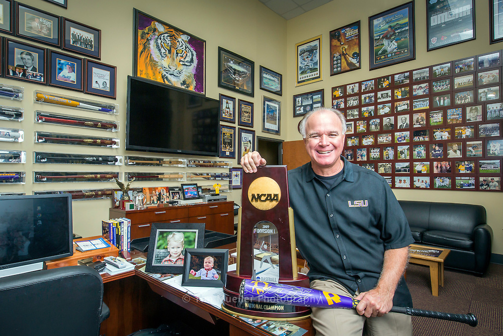 LSU baseball coach Paul Mainieri at his office full of pictures of family, friends, mentors and colleagues.