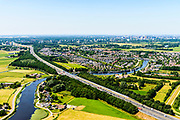 Nederland, Noord-Holland, Gemeente Ouder-Amstel, 29-06-2018; Ouderkerk aan de Amstel, brug in A9 over de Bullewijk.<br /> A9 bridge river Bullewijk.<br /> luchtfoto (toeslag op standard tarieven);<br /> aerial photo (additional fee required);<br /> copyright foto/photo Siebe Swart