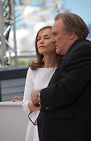 Actress Isabelle Huppert and actor Gerard Depardieu at the Valley Of Love  film photo call at the 68th Cannes Film Festival Friday 22nd May 2015, Cannes, France.