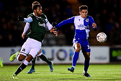 Tyler Smith of Bristol Rovers is marked by Josh Grant of Plymouth Argyle - Mandatory by-line: Ryan Hiscott/JMP - 17/12/2019 - FOOTBALL - Home Park - Plymouth, England - Plymouth Argyle v Bristol Rovers - Emirates FA Cup second round replay