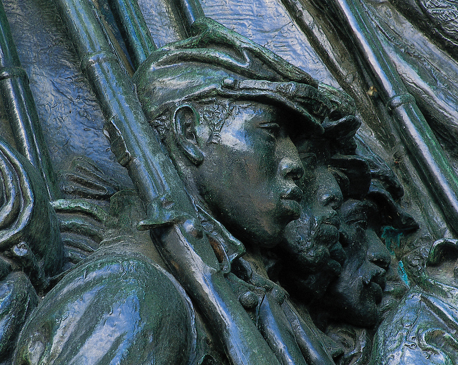 Massachusetts. Monument to Colonel Robert Gould Shaw, the commander of the first Massachusetts regiment of black men serving in the Civil War, and his regiment, located in Boston