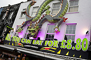 All you can eat Chinese buffet restaurant in Camden on 14th January 2020 in London, England, United Kingdom. Many people eat bargain food responsibly and it provides great value for consumers, however concerns over obesity levels in the UK remain, especially with foods containing high levels of fat and sugar. Obesity is a medical condition in which excess body fat has accumulated to the extent that it may have a negative effect on health.