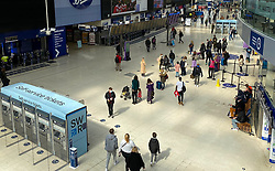 © Licensed to London News Pictures. 01/05/2021. London, UK. Commuters on the concourse of Waterloo Station following a quiet start to the bank holiday weekend. Photo credit: London News Pictures