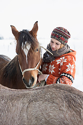 Young woman stroking her horse in the barn, Bavaria, Germany