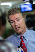 Senator and GOP presidential candidate Rand Paul speaks to the media after addressing a group of supporters at the Veterans of Foreign Wars post June 15, 2015 in Lexington, South Carolina. Paul told the crowd that the country is suffering from Bush-Clinton fatigue.