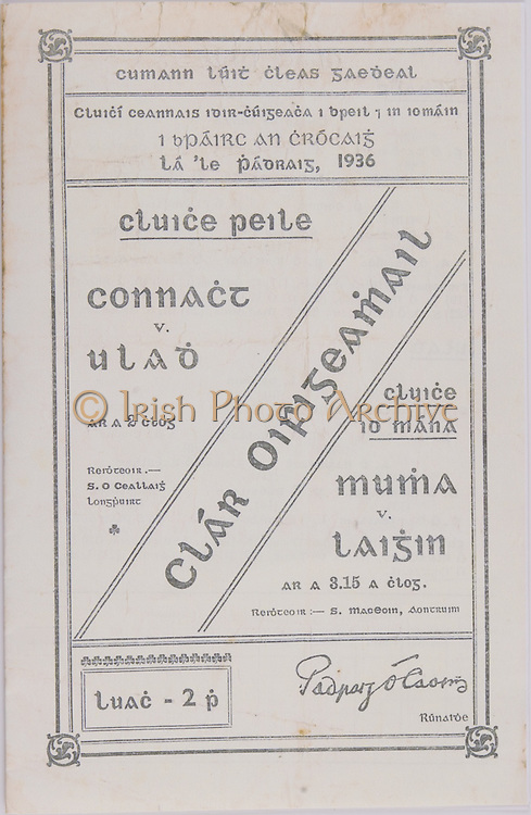 Interprovincial Railway Cup Football Cup Final, 17.03.1936, 03.17.1936, 17th March 1936, referee S O Ceallaig, Connacht 3-11, Ulster 2-03, .Interprovincial Railway Cup Hurling Cup Final, 17.03.1936, 03.17.1936, 17th March 1936, referee S MacEoin, Antrim, Munster 3-04, Leinster 2-08,