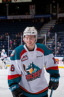 KELOWNA, CANADA - FEBRUARY 15: Michael Farren #16 of the Kelowna Rockets smiles at the camera during warm up against the Everett Silvertips on February 15, 2019 at Prospera Place in Kelowna, British Columbia, Canada.  (Photo by Marissa Baecker/Shoot the Breeze)