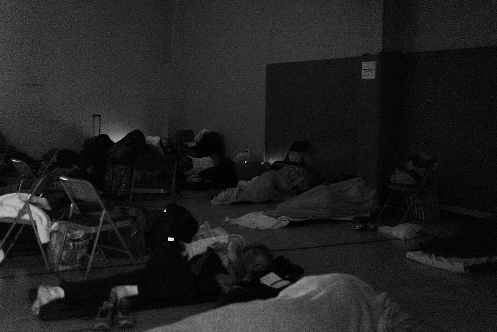 Fairfax, Virginia. March 23rd 2019 -  Homeless people from the lamb center sleep in the hall at the Open door presbyterian church during the hypothermia program  . Hypothermia program is offered to the homeless people during the winter where they can seek shelter at churches to keep themsleves warm.