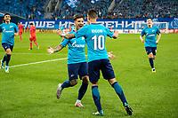 ST PETERSBURG, RUSSIA - SEPTEMBER 28, 2017. 2017-18 UEFA Europa League Group L Round 2 football match at Saint Petersburg Stadium: Zenit (St Petersburg) 3 - 1 Real Sociedad (San Sebastian).  Zenit St Petersburg's Sebastian Driussi and Emiliano Rigoni (L-R) celebrate scoring.