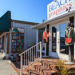 Rehoboth Beach, DE, USA - March 11, 2012: Beach stores near the boardwalk in Rehoboth Beach, Delaware.