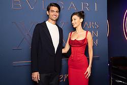 Matteo Bocelli, Bella Hadid arriving for the Bulgari XX 20th anniversary party in Rome