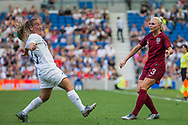 Annalie Longo (New Zealand) & Alex Greenwood (England) during the FIFA Women's World Cup UEFA warm up match between England Women and New Zealand Women at the American Express Community Stadium, Brighton and Hove, England on 1 June 2019.