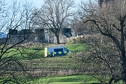 © Licensed to London News Pictures. 02/12/2019. WATFORD, UK. A police van drives through the golf course at The Grove Hotel in Chandler's Cross, ahead of the NATO Summit which will be attended by heads of state and government.  The main NATO leaders' meeting takes place on 4 December.  Donald Trump, President of the United States, who will be one of the leaders attending, will also be one of the guests at a reception at Buckingham Palace on 3 December.  Photo credit: Stephen Chung/LNP