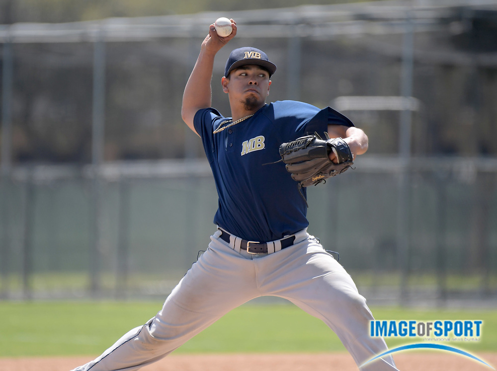 Cal State Monterey Bay Otters pitcher Gabe Katrich (22) delivers a pitch during an NCAA College baseball game against the Cal  Poly Pomona Broncos in Pomona, Calif., Friday, April 13, 2018.