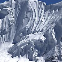 October 2009 WWF Everest - Pumo Ri mountain en route Labouche to Gorek Shep - Glacier and ice flow