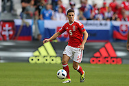 James Chester of Wales in action. Euro 2016, Wales v Slovakia at Matmut Atlantique , Nouveau Stade de Bordeaux  in Bordeaux, France on Saturday 11th June 2016, pic by  Andrew Orchard, Andrew Orchard sports photography.